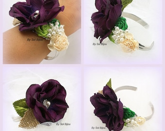 Wrist Corsage, Plum, Purple, Green, Lime Green, Cream, Ivory, Cuff, Mother of the Bride, Maid of Honor, Burlap, Crystals, Pearls, Elegant