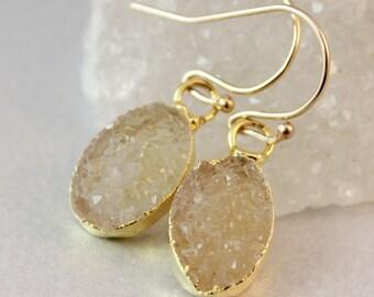 50% OFF SALE - Yellow Druzy Earrings - 14K GF - Oval Druzy Crystal Earrings