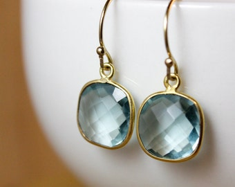 Small Aqua Quartz Earrings - Aqua Blue Quartz - 14K GF
