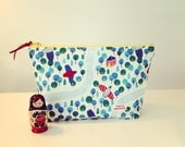 Cosmetic bag Zipper Pouch with Organic Forest print fabric