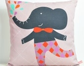 decorative throw pillow for kids room with gray elephant - 12 inch / 30 cm