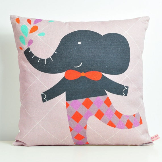 decorative throw pillow for kids room with gray elephant 12