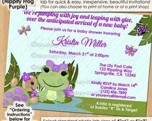Girl Hippity FROG Baby Shower Invitations / Purple lavender lilac girls frogs turtle pond dragonfly / Personalized DIGITAL INVITATION #029