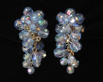 Pale Blue AB Waterfall Crystal Earrings by Zentall