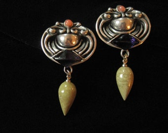 Fahrenheit by Connie Bates Pewter Earrings with Jasper Drops