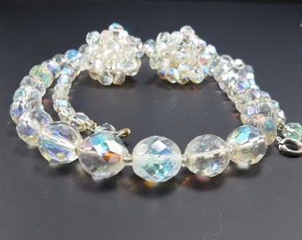 Faceted Aurora Borealis Crystal Ball Vintage 1950s Necklace and Earrings - FREE Domestic Shipping