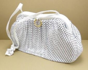 White Mesh Purse Vintage Mid Century 1960s Mod Look Handbag