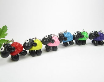 Sheep Stitch markers, colorful sheep charms, knit, gift for knitters, polymer clay, animal charm, knitting accessories cute charms miniature