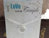 Temple Necklace - Temple charm Silver or Gold Temple Jewelry - I Love to See the Temple carded Gift  Primary Necklace Gift Young Women