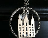 Temple Necklace -  Long Silver Dangle Salt Lake Temple Jewelry - LDS Jewelry - Families are Forever - Temple Wedding Sealing - Bride to Be