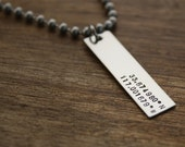 Mens Necklace Custom Necklace Hand Stamped Latitude Longitude Necklace For Him Boyfriend Gift Personalized Necklace Mens Jewelry