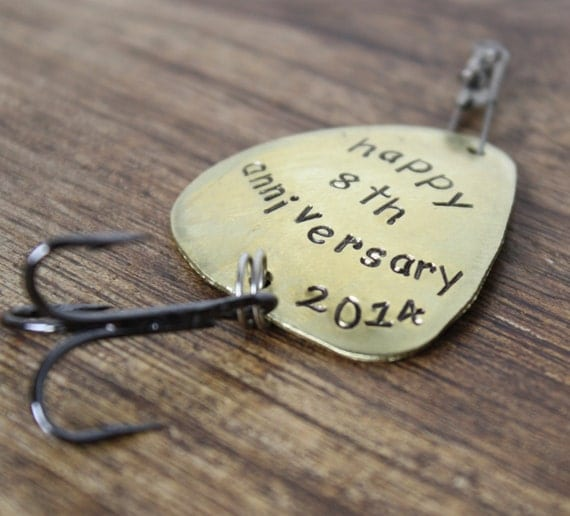 Anniversary gift fishing lure personalized by for Fishing gifts for him