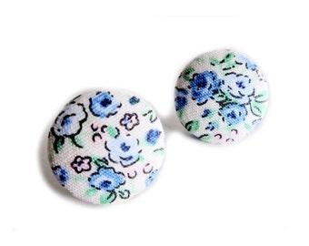 Clip On Earrings / Stud Earrings / Fabric Button Earrings - blue roses floral earrings