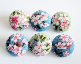 Sewing Buttons / Fabric Buttons - Cherry Blossoms on Green and Blue - 6 Large Fabric Buttons Set