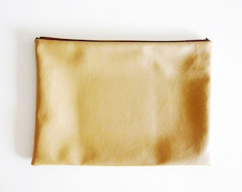 Faux Leather Zipper Clutch Pouch - LARGE - Simple and Classic Zipper Pouch in Faux Sheepskin
