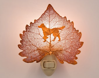 Real Cottonwood Leaf Dipped In Iridescent Copper With Dog Buddy Silouhette Night Light  - Iridescent Copper Leaves