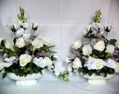 Ivory Roses and Calla Lily Silk Flower Floral Arrangement / Centerpiece