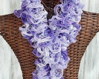 SALE Ruffle scarf knitted in lavender and white with poms, fashion accessory for women