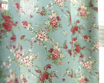Lucie Floral on Blue linen Blended Wide 145cm, U106