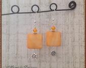 Orange Shell Earrings, Shell Earrings, Orange Earrings, Square Earrings