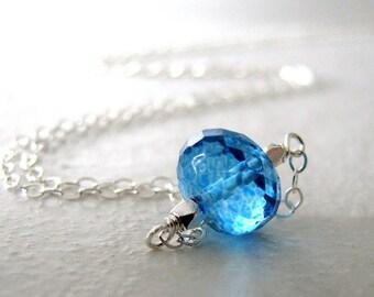 Blue Necklace, Neon Blue Quartz Necklace, Sterling Silver, Simple, Sky Blue, Blue - Blue Top