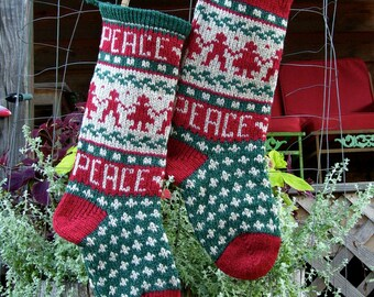 PEACE on Earth Christmas Stocking Knitting Pattern Digital Download File
