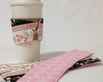 SALE!*!*!*! - Pink and White Daisy Coffee Cozie - *!*!*! 2 for 1 Mix and Match