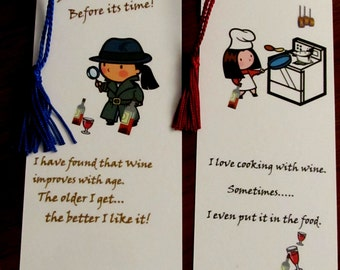 WHIMSICAL WINE BOOKMARKS  / Lamited with tassels/  Foodie Humor  / Party Gifts