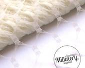 Waffle Weave Vintage Replica Ivory Net Veiling for wedding veils, fascinators and hat millinery (1 Yard)