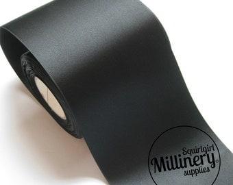10cm (4 Inch) Wide Single Sided Satin Ribbon 1m (1.09 yards) - Black