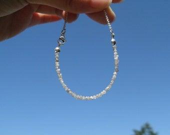 Rough Diamonds Delicate Modern Bracelet in sterling silver