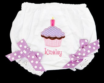 Monogrammed Birthday Bloomers, Diaper Cover, Fancy Pants, Totally Custom, Sizes Newborn up to 4t