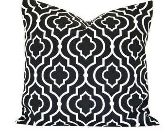 Black Quatrefoil Pillow Cover Cushion White Moroccan Decorative 18x18
