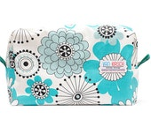Big Cosmetics or toiletries bag. Water Resistant and padded. Travel bag. Turquoise, black and white flowers. Ready to ship