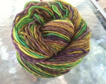 Sherwood Forest Handspun Yarn -- 125 yards Merino Wool in Brown, Green, & Plum
