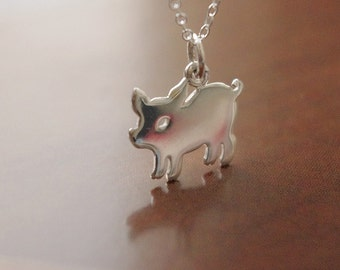 Pig Charm Necklace, The Menagerie Piglet Necklace, Dog Silhouette Charm Necklace, Pet Jewelry Silver, Dogs and Pigs, Valentines Day Gift