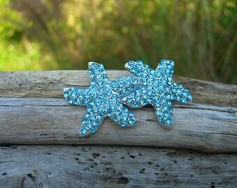 Mermaid Hair Accessories/Beach Bridesmaid/Beach Wedding/Destination Wedding/Mermaid Birthday/Starfish Hair Clip/Blue Hair Accessory