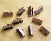 Antiqued Copper Crimp Clamp End Connectors for Leather, Trim, Braid - 10 Pieces/5 Pairs 13 mm