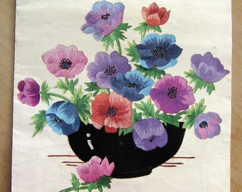 Vintage Briggs Iron On Embroidery and Applique Transfer - 'Colourful' Bowl of Anemones Flower Floral Briggs Leaflet A264 / 53022