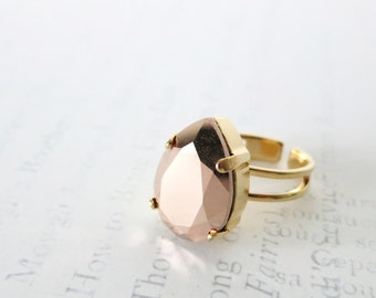 Rose Gold Swarovski Crystal Teardrop adjustable ring - Gold plated adjustable ring, chic statement bold ring, sparkly ring, brass