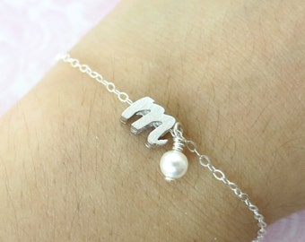 Personalised Silver Italic Letter Bracelet with a pearl-  monogram, friendship, bridesmaid letter bracelet