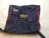 Denim Patched Backpack .Cotton 1970s carryall .vintage rucksack or bag .trend carryall.