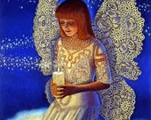 Spiritual Angel art lace wings candle flame angels artwork print of painting by Sue Halstenberg