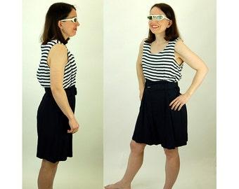 1980s romper, one piece, onesie, blue white, striped, nautical, shorts, Size 12