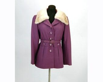 Wool jacket, purple coat, mink collar, 1960s coat, Carlson Originals, belted jacket, Size M