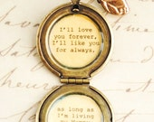 I'll love you forever I'll like you for always - Mother Locket Antique Brass - Women's Lockets - Quote Lockets - Mom and Me