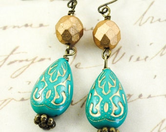 SALE - Carved Teardrop Turquoise Boho Chic Earrings - Teal and Gold - Matte Gold Beads - Dangle Earrings