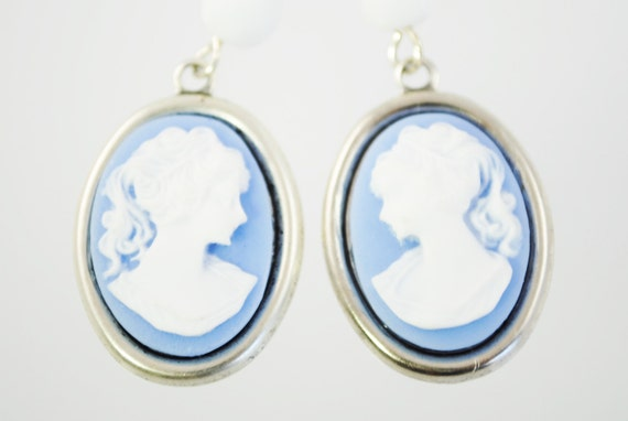 SALE - Blue and White Cameo Earrings - Lady Cameos - Something Blue Bridal Earrings