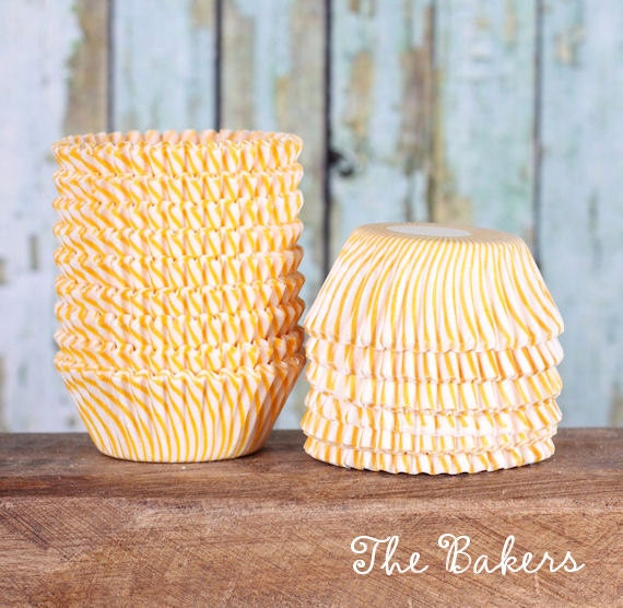Mini Yellow Striped Cupcake Liners, Golden Yellow Striped Candy Cups, Mini Yellow Stripe Treat Wrappers, Yellow Cake Pop Cups (100)