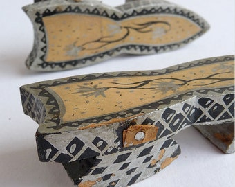 Miniature Wooden Shoes - Antique Japanese or Chinese Block Shoe Ornaments